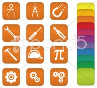 Engineering and Tools Icons Stock Photos