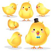 Cute Chick cartoon - stock illustration