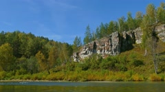 Mountain river landscape in Ural mountains, 4k Stock Footage