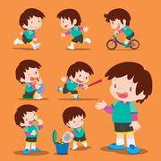 Cute boy many actions - stock illustration