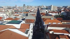 Aerial view of Rua Santa Catarina, Porto, Portugal - stock footage
