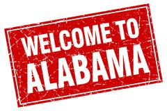 Alabama red square grunge welcome to stamp Stock Illustration