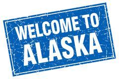 Alaska blue square grunge welcome to stamp - stock illustration