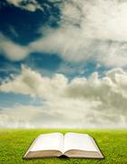 Open book with landscape background, Education concept - stock photo
