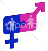 puzzle man and woman - stock photo