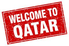 Qatar red square grunge welcome to stamp - stock illustration