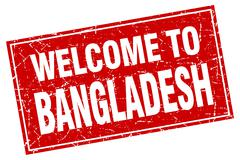 Bangladesh red square grunge welcome to stamp Piirros