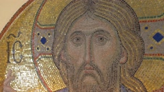 A Half Round Icon of Jesus Christ Keeping Bible, Made of Golden Looking Mosaic, Stock Footage