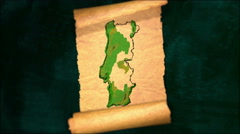 Portugal Map Painting Unfolding Old Paper Scroll 3D 4K Stock Footage