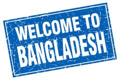Bangladesh blue square grunge welcome to stamp - stock illustration