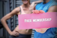 Free membership against people background Stock Photos