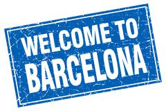 Barcelona blue square grunge welcome to stamp Stock Illustration