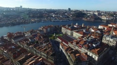 Aerial view of the Porto Skyline and Se Catedral, Portugal Stock Footage