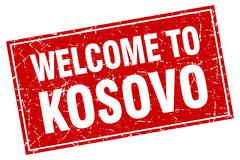 Kosovo red square grunge welcome to stamp - stock illustration