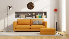 Living room with orange sofa - stock illustration
