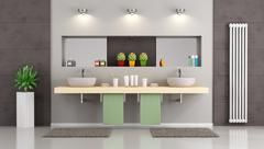 Modern bathroom with double washbasin - stock illustration