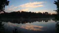 Sunrise on the river Bolshaya Kokshaga. Kokshamary village, Republic Mari El, Stock Footage