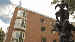 Sculpture of a jester in Dusseldorf, Germany Stock Footage