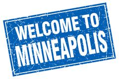 Minneapolis blue square grunge welcome to stamp Piirros