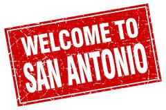 San Antonio red square grunge welcome to stamp - stock illustration