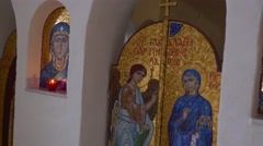The Annunciation to the Blessed Holy Virgin Mary by Angel Gabriel on an Ancient Stock Footage