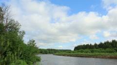 Movement of clouds on the river Bolshaya Kokshaga. Kokshamary village Stock Footage