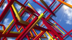 Abstract matrix structure against clouds Stock Footage
