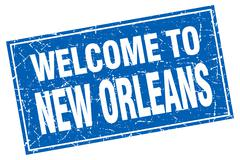 New Orleans blue square grunge welcome to stamp Stock Illustration