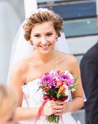 Beautiful bride  at the wedding reception - stock photo