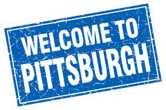 Pittsburgh blue square grunge welcome to stamp - stock illustration