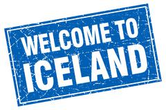 Iceland blue square grunge welcome to stamp - stock illustration