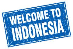 Stock Illustration of Indonesia blue square grunge welcome to stamp