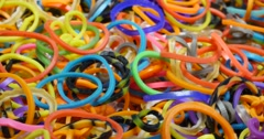 Rotating Rubber Colour Bands 4k Stock Footage