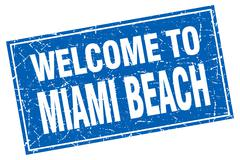 Miami Beach blue square grunge welcome to stamp - stock illustration