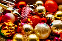 Many beautiful christmas or new year fir tree decoration colorful toys - stock photo