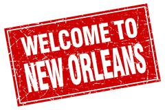 New Orleans red square grunge welcome to stamp Stock Illustration