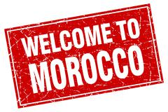 Morocco red square grunge welcome to stamp - stock illustration