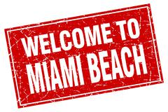 Miami Beach red square grunge welcome to stamp Stock Illustration