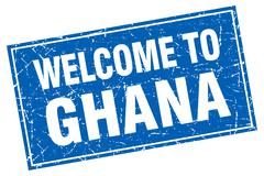 Stock Illustration of Ghana blue square grunge welcome to stamp
