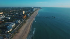 Aerial shot of Deerfield Beach and seascape, Florida, United States Stock Footage