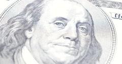 Benjamin Franklin Portrait On US Dollar 4k Stock Footage