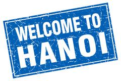 Hanoi blue square grunge welcome to stamp Stock Illustration