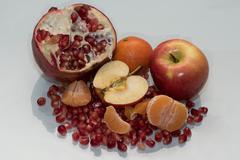 healthy sweet apple garnet and mandarin - stock photo