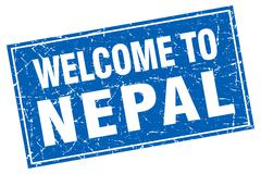 Nepal blue square grunge welcome to stamp - stock illustration