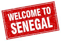 Senegal red square grunge welcome to stamp - stock illustration
