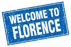 Florence blue square grunge welcome to stamp Stock Illustration