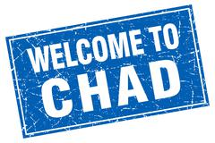 Chad blue square grunge welcome to stamp Stock Illustration