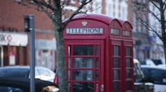 Traditional English red Phone box, England, Europe Stock Footage