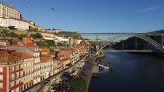 Aerial View of Ribeira, Porto, Portugal Stock Footage