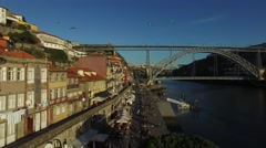Aerial View of Ribeira, Porto, Portugal Stock Footage